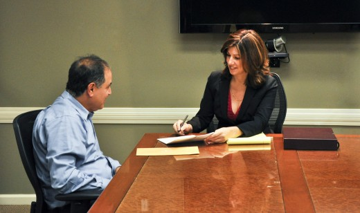 photo of Cynthia Catalino with a client